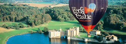 hot air ballooning over Leeds Castle